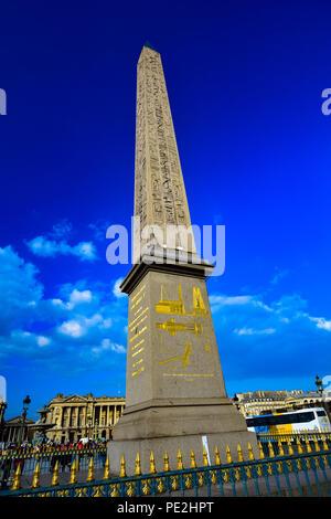 Egyptian obelisk in the Place de la Concorde in Paris, France - Stock Image