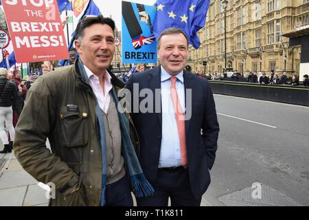 London, UK. 27th Mar, 2019. Arron Banks, Co Founder of Leave EU Campaign, Andy Wigmore, Houses of Parliament, Westminster, London. UK Credit: michael melia/Alamy Live News - Stock Image