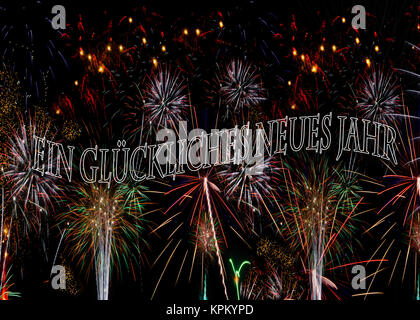 Ein glückliches neues Jahr Fireworks in German Others in German see KPKYPG and KPKYPA also in English and Spanish - Stock Image