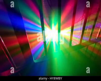 """Disco lighting in a prison cell at """"Fantazia meets Raindance"""" Rave held in a disused Crown Court building in central - Stock Image"""
