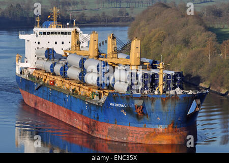 Bulk Carrier Asia Zircon I carrying Wind Turbines. - Stock Image