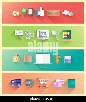 Social media seo business and ecommerce vector - Stock Image