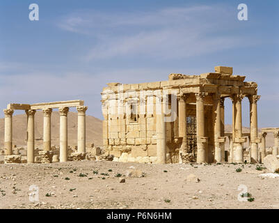 Syria. Palmyra. Temple of Baalshamin, dedicated to the Canaanite sky deity Baalshamin. The temple's earliest phase dates to the late 2nd century BC. The temple was substantially rebuilt in 131 AD. In the 5th century AD was converted to a church. It was demolished in 2015 by the Islamic State during the Syrian civil war. - Stock Image