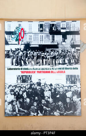Remembering the Partisan 'Republic' of Ossola set up in 1944 at Domodossola, Piedmont, Italy, in defiance of the German occupation - Stock Image