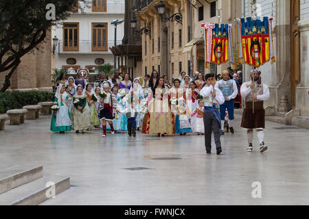 Holy procession at the annual offerings to the Lady of the Forsaken during Fallas Festival Valencia Spain - Stock Image