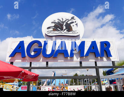 Entrance sign to Aguamar Water Park, Platja d'en Bossa, Ibiza Spain - Stock Image