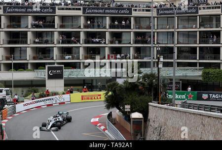 Mercedes Lewis Hamilton exits the Fairmont Hairpin during first practice at the Circuit de Monaco, Monaco. - Stock Image