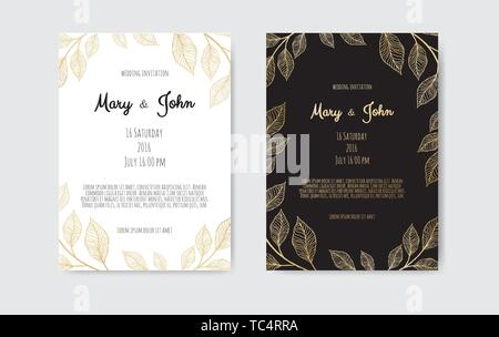 Vector invitation with gold floral elements. Luxury ornament template. greeting card, invitation design background - Stock Image