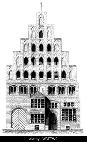 Medieval residential building in Hanover, ,  (cultural history book, 1875) - Stock Image