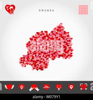 I Love Rwanda. Red and Pink Hearts Pattern Map of Rwanda Isolated on Grey Background. Love Icon Set. - Stock Image