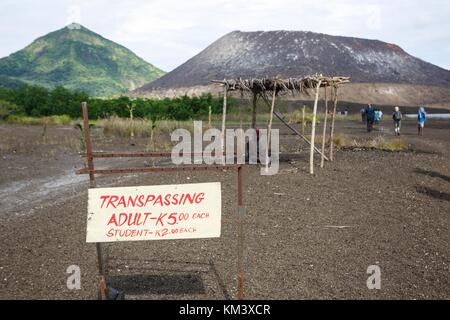 Tavurvur volcano is private land with a visiting fee and clear penalties for trespassing - Stock Image