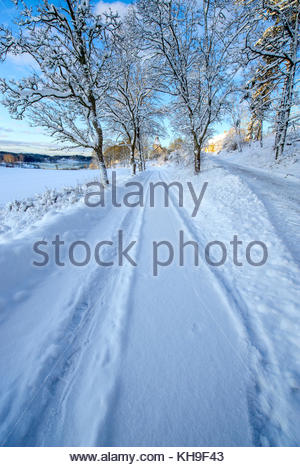 Winter road leading us into the photo. Heavy snow. - Stock Image