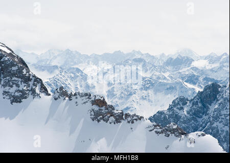 Alps mountain range viewed from Zugspitze, in Eastern Alps, which form part of the Wetterstein mountains,(German: Wettersteingebirge), Bavaria,Germany - Stock Image