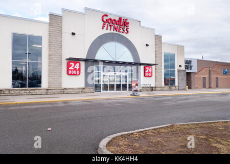 Goodlife Fitness, a 24 hour fitness gym in Peterborough Ontario Canada - Stock Image