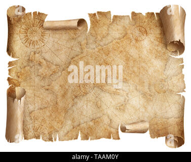 Vintage Europe map parchment isolated on white. Based on image furnished from NASA. - Stock Image