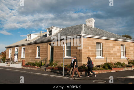 Colonial Georgian sandstone houses in Battery Point, Hobart, Tasmania, Australia - Stock Image
