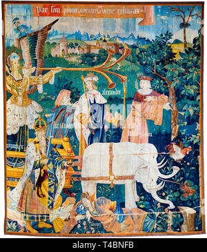 Tapestry featuring Alexander the Great, Plato, Aristotle, Charlemagne, The Triumph of Fame over Death, c. 1500 - Stock Image
