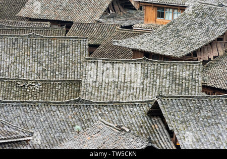 Dong village in the mountain, Zhaoxing, Guizhou Province, China - Stock Image