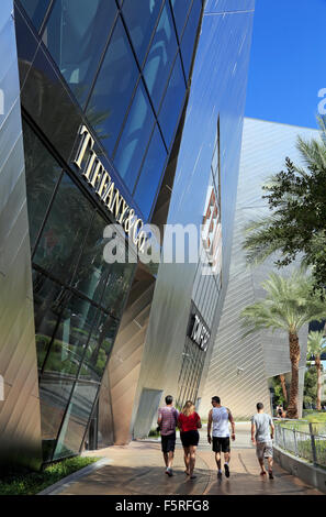 Las Vegas City Center. People walking by the Tiffany & Co store. - Stock Image