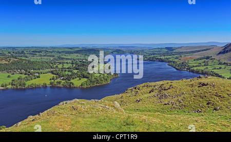 Fell top view of Lake Ullswater - Stock Image