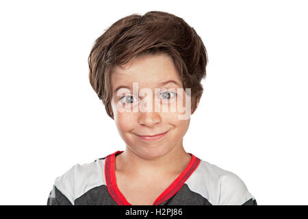 Closeup portrait of a cute happy boy isolated on white background, nice friendly teen posing in the studio - Stock Image