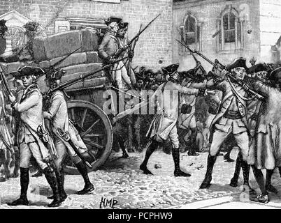 Troops escorting the stamped papers 1765; American War of Independence; Illustration from Cassell's History of England, King's Edition Part 33 - Stock Image