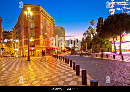 Street of Nice evening view, French riviera - Stock Image