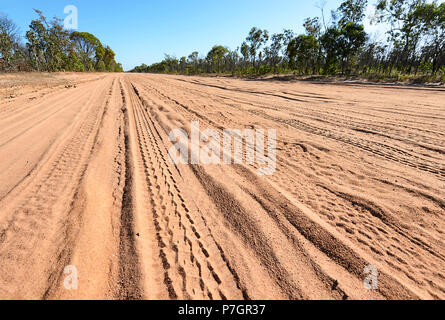 Red dust and corrugation on the remote Peninsula Development Road (PDR), Cape York Peninsula, Far North Queensland, FNQ, QLD, Australia - Stock Image