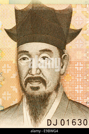 Yi I (1536-1584) on 5000 Won 2006 Banknote from South Korea. - Stock Image