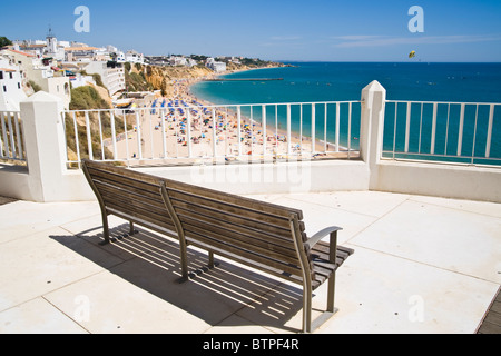 Bench, Albufeira Beach, Algarve, Portugal - Stock Image