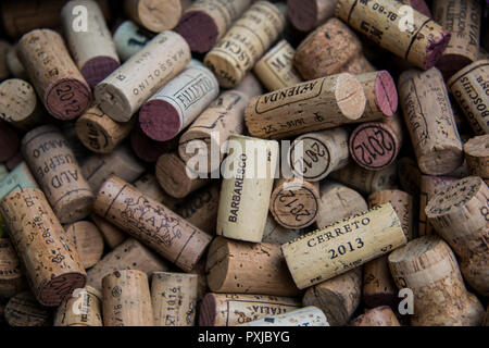 A of corks from local wine bottles  in a restaurant in the small town of Serralunga d'Alba in Italy's Piedmont - Stock Image