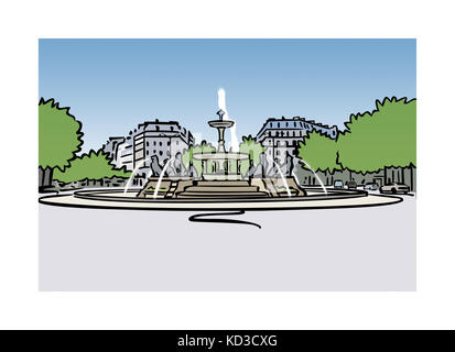Illustration of fountain at Place Felix-Eboue in Paris, France - Stock Image