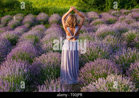 Beautiful girl in a purple dress posing on a lavender field - Stock Image