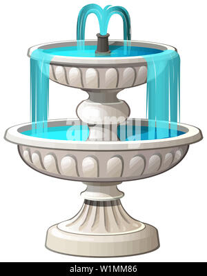 fountain outdoor architecture water stream blue illustration - Stock Image