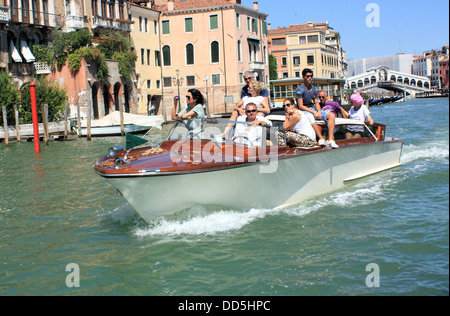 Water taxi, Grand Canal, Venice, Italy - Stock Image