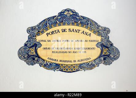 Albufeira Municipal Decorative Ceramic Tile Street Sign For Porta De Sant Ana, Albufeira Old Town - Stock Image