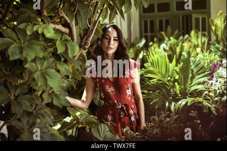 Calm, natural woman posing in an exotic, tropical garden - Stock Image