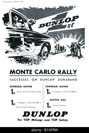1960 advertisement for Dunlop Tyres Tires success in the 1960 Monte Carlo Rally Rallye FOR EDITORIAL USE ONLY - Stock Image