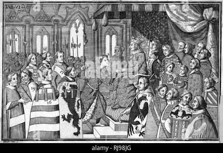 The court of Charles V, known as le Sage, who liked to surround himself with scholars and learned folk - Stock Image