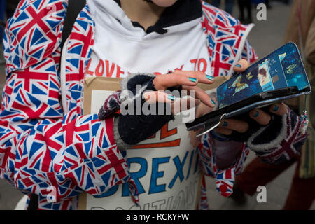 On the day that Prime Minister Theresa May's Meaningful Brexit vote is taken in the UK Parliament, a protesting Remainer uses her phone opposite the House of Commons, on 15th January 2019, in Westminster, London, England. - Stock Image