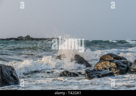 Mousehole, Cornwall, UK. 13th Apr, 2019. UK Weather. Cold winds from the East approaching 50 mph are starting to hit the coast of Cornwall. Credit: Simon Maycock/Alamy Live News - Stock Image