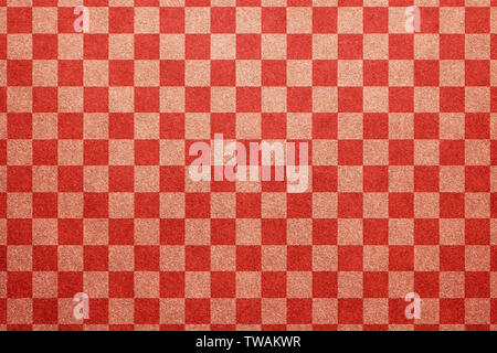 Japanese traditional red color checkered pattern paper texture background - Stock Image