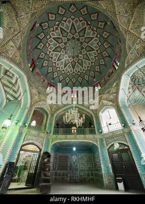 Chandelier and Dome, Mosque Tekyeh Moaven-ol Molk, Kermanshah, Iran - Stock Image