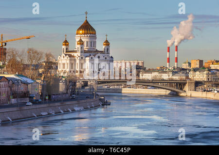 Christ the Saviour cathedral, cityscape, Moscow, Russia - Stock Image