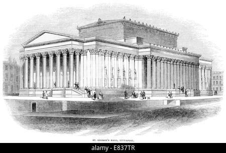 Saint George's Hall Liverpool circa 1844 - Stock Image