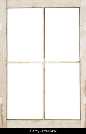 Old 4 pane residential wooden window frame isolated on white with clipping path included. - Stock Image