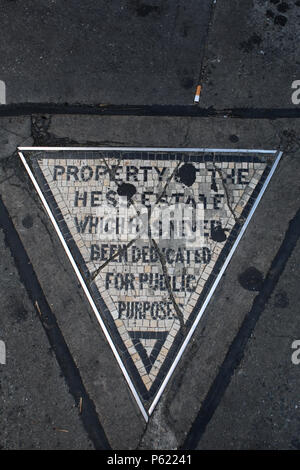 NEW YORK, NY - JUNE 28: Property of the Hess Estate - tile mosaic triangle placed in 1922 to commemorate victory of David Hess over city government ov - Stock Image