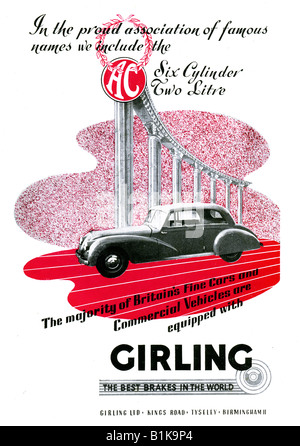 1948 advertisement for Girling Brakes featuring an AC Motor Car FOR EDITORIAL USE ONLY - Stock Image