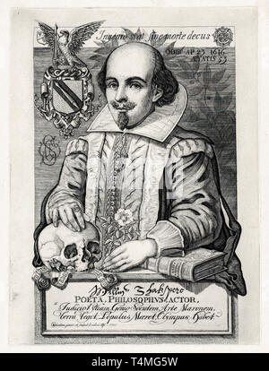 William Shakespeare (1564–1616), portrait engraving, Charles William Sherborn, 1876 - Stock Image