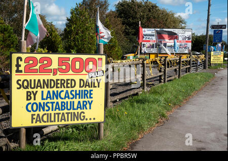 Little Plumpton, near Blackpool, UK. 24th September 2018. Anti Fracking Demonstration at the Cuadrilla Preston New Road shale gas site. Anti Fracking signs along Preston New Road. Credit: Stephen Bell/Alamy Live News. - Stock Image